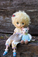 Enjoying These Two (Desertmountainbear) Tags: jerryberry berry penny little cotton rabbits knitted mouse