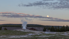 Moon over Old Faithful Erupting (repete7) Tags: yellowstonenationalpark wyoming usa oldfaithfulgeyser fullmoon clouds hdr canon canon6d canon24105l