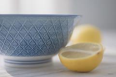Blue & Yellow (jm atkinson) Tags: stilllife fruit lemons bluebowl bokehwednesday 7dwf macro