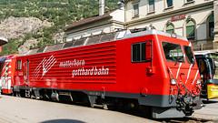 MGB (BVZ) HGe 4'4 5 Brig 06 August 2003 (BaggieWeave) Tags: switzerland swiss swisstrains swissrailways bvz mgb hge44ii matterhorngotthardbahn brigvispzermatt brig cantonvalais