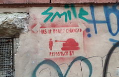 Tank Man - Chinese Democracy (Coastal Elite) Tags: remember 89 tankman has it really changed china chinese history 1989 tank man tiananmen square protest massacre democracy manif manifestations manifestation uprising government char assaut place chine montreal graffiti wall mileend mur stencil streetart urban street art urbain mile end montréal rouge red communism change human rights smile pochoir ruelle alley alleyway ruelles alleys alleyways stencils