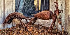 Urban fossil (David DeCamp) Tags: rustic rust rusted skeletal frame bike motorcycle leaves texture