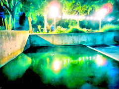 ( In the freshness of the night ) (Dom Guillochon) Tags: digitalpainting electric lights water reflections impression expression outdoor summer nature urban park humans earth time life reality dream existence being nothingness roam wandering freshness night multiverse