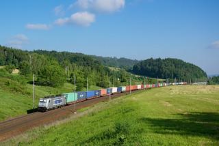 Metrans, Bombardier TRAXX 386 010-3 - container train, Dlouhá Třebová - Česká třebová