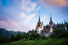 Pink morning (CreArtPhoto.ro) Tags: castle resort iarba nori romania castelulpeles castel trees summer peles palace cer mountain forest sunrise pink architecture green sky copaci sinaia verde