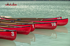 (hey ~ it's me lea) Tags: red canoes lakelouise aqua water redcanoes reflections alberta canada