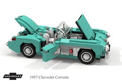 Chevrolet Corvette Roadster (C1 - 1957) (lego911) Tags: chevrolet chevy chev corvette roadster convertible 1957 c1 1950s classic v8 gm general motors auto car moc model miniland lego lego911 ldd render cad povray lugnuts challenge 117 acultfollowing cult following usa america cove