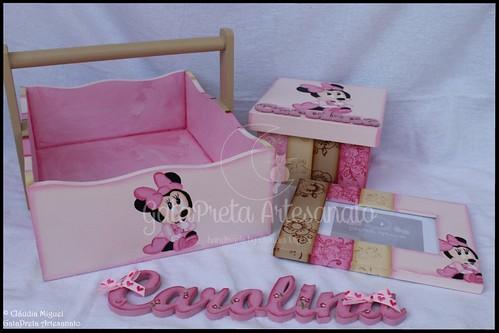 """Cesta de produtos de bebé, caixa de recordações de bebé, moldura e nome """"Shy Minnie"""""""