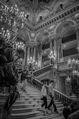 l'Opéra de Paris (christophe plc) Tags: paris opera garnier france city ville capital musique classique chant people gens personne photo flickr noir blanc monochrome xt1 fujifilm fujinon 1655mm interieur interior femme couple homme escalier architecture lustre
