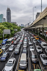 Rush hour, Shanghai, China (podrozuje) Tags: shanghai road yanan museum city life rush hour steel glass car traffic overpass building sky clouds dark shiny travel outdoors explore pedestrian drive