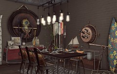 """""""We've only discovered 5%"""" - Interior Setup - Dining - Steampunk Industrial (Jack Hanby - Grandeur decor) Tags: modern steampunk industrial fashion sense genre style unique experimenting light bulb surfing wine barrel art telescope"""