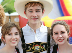 Trio of Folk Dancers (wyojones) Tags: texas tomball tomballgermanheritagefestival costume festival german people boy man girl woman folkdancers folkdancingtroope highschool handsome pretty cute beautiful brunette redhead smiles blueeyes greeneyes