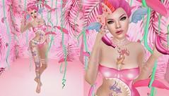 Post #1839 (şąşɧ =^^=) Tags: pink cute kawaii bananas mermaid ears mesh applier hud sandals pinkatude bow sunglasses garter collar choker bracelet cuff belt tattoo colorful rainbow fashion blog sashakitteh tropical makeup omega bento shark bite updo neon hot