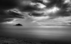 Moody Mist, St Michael's Mount (Mick Blakey) Tags: tranquil serene stmichaelsmount coastline tidal monochrome cornish seascape coastal mist misty moody cornwall coast clouds blackwhite
