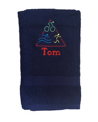 Bath Sheet Sized Towel - Triathlon (initial_impressions) Tags: embroidered personalized largebathsheetsizednavytowelwithtriathlonembroidery