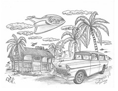 Spanky's (rod1691) Tags: bw scifi grey concept custom car retro space hotrod drawing pencil h2 hb original story fantasy funny tale automotive art illistration greyscale moonpies sketch