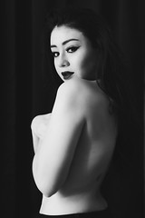 (BrianaRaeLopez) Tags: blackandwhite grey girl model dark skin nude portraits portrait female beautiful beauty black whit blueeyes nudeportrait art prettygirl pretty gorgeous women woman young