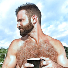 1275 (rrttrrtt555) Tags: hairy hair muscles beard chest shoulders cup spike spiked arms masculine coffee drink freckles ginger mug outdoors sky squint red redhead fence smile chin