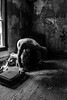 Inhabited by a cry (sadandbeautiful (Sarah)) Tags: me woman female self selfportrait abandoned bw monochrome abandonedhouse suitcase puzzlepieces decay etc