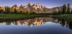 Schwabacher's Sunrise (inkasinclair) Tags: panorama schwabachers landing grand teton tetons mountains mountain snow summer sunrise golden hour reflection water lake america usa trees landscape wild wilderness nature photography travel nikon d810