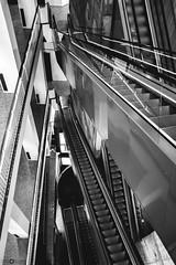 Vertigo (Victor Lasheras) Tags: freefall stair vertigo stairs staircase mechanic bw white light city blackandwhite blancoynegro black blanco new nuevo caida libre escaleras escalera mecanica negro