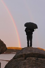 Squeaky Beach (Brian Aslak) Tags: squeakybeach wilsonsprom wilsonspromontory nationalpark gippsland victoria australia beach shore coast park rainbow person man umbrella