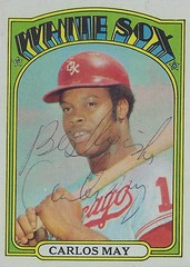 1972 Topps - Carlos May #525 (First Base / Outfielder) - Autographed Baseball Card (Chicago White Sox) (Baseball Autographs Football Coins) Tags: carlosmay chicagowhitesox 1972 topps 1972topps baseball cards baseballcard vintage auto autograph graf graph graphed sign signed signature outfielder firstbase