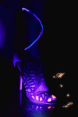 Glow (Mr2D2) Tags: glow blacklight feet toes pedi fishnets heels party glowsticks sexy fun woman latina wife