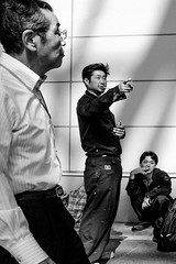 (Scott F Thompson) Tags: kanazawa station blackandwhiite streetphotography cigarette smoking men