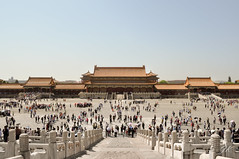 The Forbidden City, Beijing, China (podrozuje) Tags: beijing china travel explore forbidden city crowd must see building tradition visit tourist sky blue white orange roof temple pavilon stair