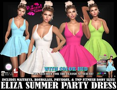 ELIZA SUMMER PARTY DRESS PIC (brajeet.resident) Tags: secondlife pizazz pzc womens fashion apparel summer party dress eliza maitreya slink physique hourglass tmp