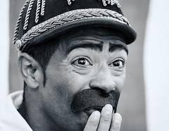 oxford-2-200617 (Snowpetrel Photography) Tags: olympusem1 olympusm40150mmf28 olympusuk oxford universityparks blackandwhite circuses clowns insanity monochrome people portraits summer england unitedkingdom