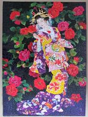 Tsubaki (pefkosmad) Tags: jigsaw puzzle hobby leisure pastime art painting haruyomorita tsubaki geisha costume kimono flowers camellia traditional 1000pieces complete used secondhand