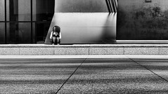 Individual Moment (draketoulouse) Tags: chicago loop daley plaza blackandwhite monochrome street streetphotography people city urban picasso square lines minimal alone outside outdoor