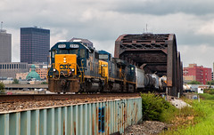 Geep on Q365 Duty (Wheelnrail) Tags: csx csxt emd gp382 locomotive rail road railroad q365 rails train trains bridge skyline dayton ohio toledo subdivision