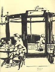 Café Atlantico - Strasbourg (lolo wagner) Tags: sketch croquis usk urbansketchers alsace strasbourg bistrot bateau