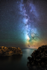 Menorcan Milky Way (ben.leng) Tags: nikon d750 milkyway space spain menorca nikkor astro 20mmf18 mediterannean rocks sky sea stars galaxy adobecameraraw nik airglow calaenbosc