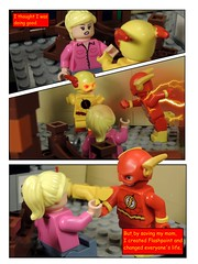 Birth of Flashpoint (MrKjito) Tags: lego minifig super hero comic comics birth flashpoint reverse flash barry allen nora 15 years ago eobard thawne dc universe paradox