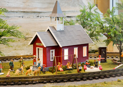 Miniature Schoolhouse Scene - Original