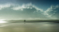 Walking by the Sea (Bruus UK) Tags: mawganporth cornwall sand sea coast beach walking couple people clouds sky strolling together reflection blur marine lovecornwall outside seascape