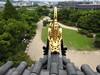 Golden shachi (gargoyle) atop Okayama Castle (Joel Abroad) Tags: okayama castle japan donjon tower tenshukaku shachi grampus gargoyle gilt