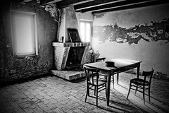 Reflection (kalbasz) Tags: comacchio italy summer room old blackandwhite alone fisher house desk chairs