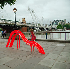 "A ""pop"" of colour (jimj0will) Tags: odc pop color colour bench child candid southbank london england europe river flourescent orange florescent thames"
