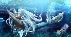 Undersea happiness (meriluu17) Tags: astralia foxcity udersea underwater sea water blue mermaid merfolk fatnasy fins tail fish fishy bubble bubbles portrait swim wet jelly smile happiness