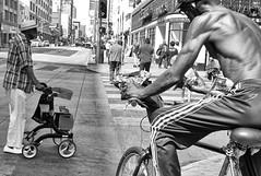 Busy Broadway (ROSS HONG KONG) Tags: rider bike bicycle broadway la losangeles california downtown streetphoto busy black white blackandwhite leica m8 bw
