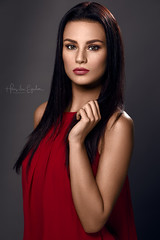 Soraya (Hans van Eijsden) Tags: studiolight darkhair portrait greybackground longhair individuals beauty red individuality youngadult studio simplicity standing colourful glamour elinchrom model fashion posing personality makeup female girl lady oneperson woman zwolle overijssel netherlands nl