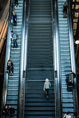 The Ups and Downs (Al Fed) Tags: 20170524 berlin mainstation stairs escalator random people candid clock woman man travellers time main station lehrter bahnhof hauptbahnhof phone suitcase up down trendy andwhatsnot