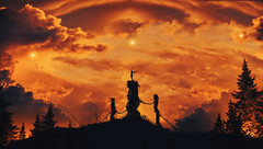 Trinity (Wladimir_J) Tags: digitalart sun sunset sunlight sundown sunflare sunshine sunrise red redplanet mars tree silhouette
