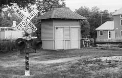 Dexter, Michigan. Railroad Crossing (marylea) Tags: blackandwhite bw blackwhite dexter michigan train depot station broadst railroadcrossingsign railroadcrossing jun17 2016 summer