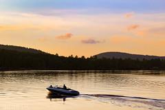 Bridgton, Maine (sheldonannphotography) Tags: sunset water lake boat silhouette mountains colorful colors nature landscape canon yellow orange moose pond maine bridgton new england summer clouds sky